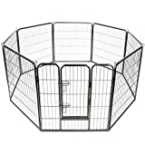 TRESKO Parc d'extérieur pour Chiens et animalerie   Enclos en métal pour Chien   Cage pour Chiens Chiots Animaux de Compagnie   Circonférence = 640 cm   Hauteur 100 cm