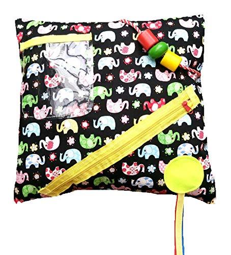 Cojín Fidget con temática de coloridos elefantes - Actividades sensoriales para personas...