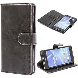 Mulbess Housse pour Sony Z2, Coque Sony Xperia Z2 Cuir, Étui Portefeuille avec à Rabat Magnétique Housse Protection pour Sony Z2 Etui Pochette, Noir