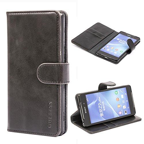 Mulbess Ledertasche im Ständer Book Case / Kartenfach für Sony Xperia Z2 Tasche Hülle Leder Etui,Schwarz