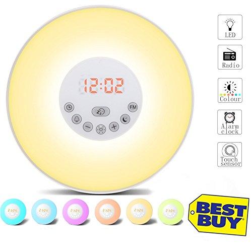Preisvergleich Produktbild Wake Up Light, Lichtwecker Wecker LED mit Sonnenaufgang Simulation, Natur Sounds, Tagelichtwecker mit Intelligente Schlummerfunktion, FM Radio, Touch Control, 7 Farbige LED 10 Dimmstufen