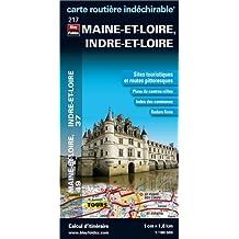 Maine-et-Loire (49), Indre-et-Loire (37) - Carte départementale, routière et touristique (échelle 1/180 000)