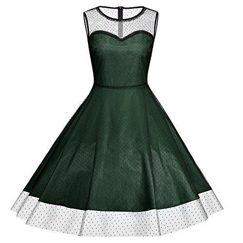 iShine elegante Kleider Damen Festliche Knielang A-Linie Kleider damen Ärmellos Vintage Kleid Rockabilly Abendkleider Partykleid Cocktailkleid Grün