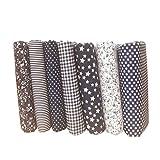 Topker 7pcs tela de algodón punto de la flor estrella DIY algodón tejido acolchado paño para la tela de artesanía de remiendo