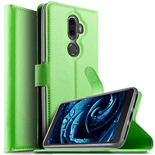 KuGi Alcatel 3V Hülle, Alcatel 3V Wallet Case, Brieftasche Case Hülle PU Kunstleder Flip Case mit Standfunktion Kartenfächer und Bargeld für Alcatel 3V Smartphone.Grün