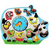 """Colorful Natural Wood Raised Puzzles Clock """"Farm Animals"""" - Educational Toy For Children Age 3+"""