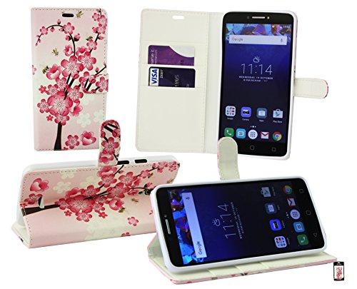 Emartbuy Alcatel One Touch Pixi 4 ( 6.0 ) 4G Brieftaschen Etui Hülle Case Cover aus PU Leder mit Kreditkartenfächern - Rosa Blossom