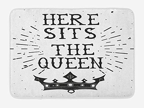 Trsdshorts Queen Bath Mat, Vintage Grunge Here Sits The Queen Quote Antique Crown Royalty Theme Hipster, Plush Bathroom Decor Mat with Non Slip Backing, 23.6 x 15.7 Inches, Black and White