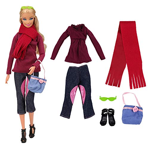 Fashion-schal (Miunana Sets Fashion Kleidung Clothes Hosen Schal Brille Tasche für Barbie Puppen)