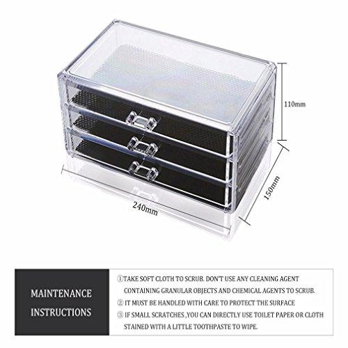 Amuster La boîte de rangement cosmétique en plastique claire de boîte de rangement de 3 tiroirs composent le stockage (Transparent)