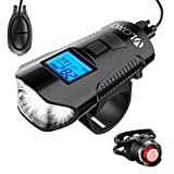 VLOXO Fahrrad Tachometer Rad Licht Kilometerzähler Wasserdichter Fahrradcomputer mit LCD Display, Multifunktionaler Radscheinwerfer und Rücklicht inkl. Laute Elektrische Fahrradklingel MEHRWEG