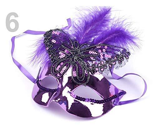 1stück 6 Blau-lila Augenmaske Schmetterling Mit Federn, Augenmasken, Party Und Karneval Accessoires, Dekoration (Lila Feder Maske Mit Pailletten)