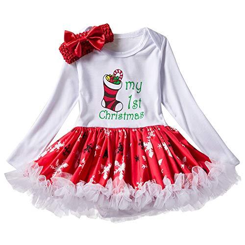 (Venmo Kleinkind Neugeborenes Baby Mädchen Prinzessin Brief Tutu Kleid Weihnachten Outfits Set Kleid Festzug Ärmellos Drucken Kleider Ballettkleid Party Hochzeit Tutu Strampler Kleid)