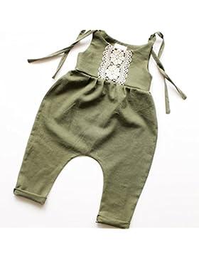 Gugutogo Unisex Baby Kinder Hosenträger Hose einteilige ärmellose Overalls (Farbe: grün) (Größe: 100)