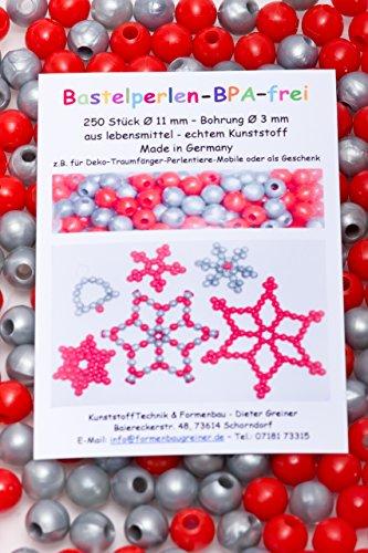 Perlen Kinderperlen Bastelperlen 250 Bastelperlen aus lebensmittelechtem Kunststoff (BPA-frei) Ø 11 mm, Fädelloch 3 mm / rot und silber (Perlen Weihnachtsstern)