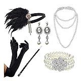 DRESHOW 1920s Accessori Set Flapper Costume Gatsby Piuma Fascia Collana lunga Guanti neri Porta sigarette
