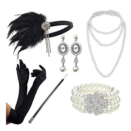 DRESHOW 20er Jahre Zubehör Sets Flapper Kostüm Gatsby Feder Stirnband Lange Halskette Schwarze Handschuhe Zigarettenspitze