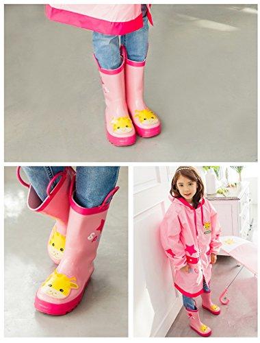 Bigood Botte de Pluie Enfant Caoutchouc Chaussures Animaux Imprimé Casual Mignon Rose