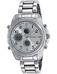 SKMEI Analog-Digital Silver Dial Men's Watch - AD1021 (Silver)