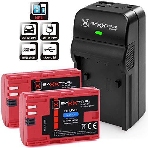Baxxtar Razer 600 II Ladegerät 5in1 mit Baxxtar Pro Akku (2X) - Ersatz für Akku Canon LP-E6 (2040mAh) - USB-Ausgang zum Laden Ihres Smartphones usw. -