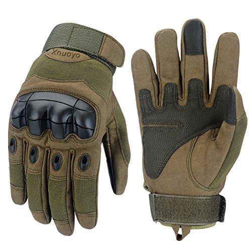 Xnuoyo Gomma Dura Knuckle Guanti da dito pieno Guanti di protezione Guanti touch screen per moto Ciclismo Caccia Arrampicata campeggio (Army Green, X-Large)