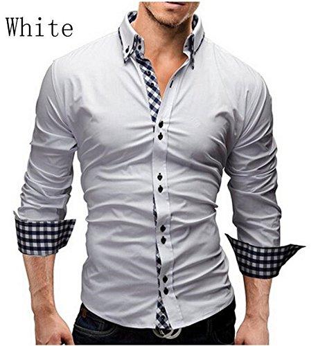SHUNLIU Hemd Herren Freizeit Langarmhemd Slim Fit Baumwolle Langarmhemd Weiß