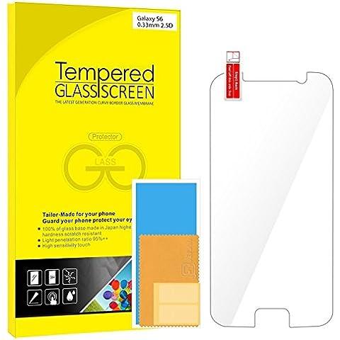 S6 Protector de Pantalla, Rankie Vidrio Templado Protector de Pantalla Empaquetado al por Menor para Samsung Galaxy
