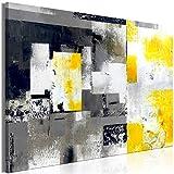 murando Quadro Astratto 120x80 cm - 1 Pezzo Stampa su Tela in TNT XXL Immagini Moderni Murale Fotografia Grafica Decorazione da Parete Grigio Giallo Bianco Nero a-A-0434-b-a