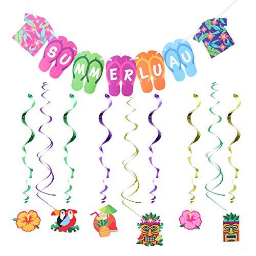 Supplies Sommer Luau Banner Tropische hängende Windung Flip Flop Kleidung Luftschlangen hängende Dekorationen für Sommer Pool Party Supplies ()