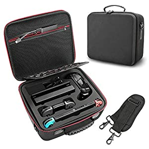 Taschen für Nintendo Switch Powcan Deluxe Harte Tragetasche Schutz Portable Switch Schutzhülle Hülle Schutztasche für Switch-Konsole, Dock, Netzteil, HDMI-Kabel, Pro-Controller und 21 Spielekassetten