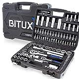 BITUXX® 108 Teiliges Werkzeugkoffer Knarrenkasten Werkzeugset Werkzeugkasten Ratschenkasten Steckschlüssel Bit Imbus Werkzeug Set
