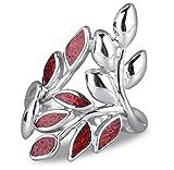 Geschenk Schmuck-Schmuck-Designer-Ring Korallen und Silber Olivenblätter