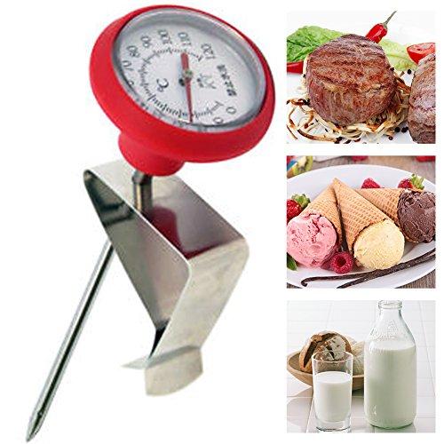 Ainstsk Schiumalatte in Acciaio Inox termometro, termometro per Latte con Clip, termometro da Cucina 0° -120°C sonda per Alimenti Adatto per Formaggio di Latte Yogurt Coffee Making