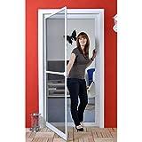 Premium Fliegengitter für Tür als Alubausatz mit Fiberglasgewebe - Profi Insektenschutz - 100 cm x 210 cm weiß
