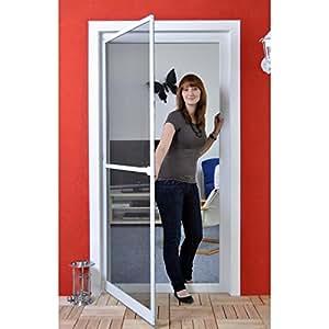 Premium Slim Fliegengitter für Tür als Alubausatz mit Fiberglasgewebe - Profi Insektenschutz - 120 cm x 240 cm braun