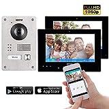 Neostar 2 Draht IP Video Türsprechanlage ✓ Smartphone App ✓ 2 x 7 Zoll Touchscreen Monitor ✓ Full HD Kamera ✓ 172° Weitwinkel-Kamera ✓ 2-Draht IP ✓ 1 Familienhaus ✓ Aufputz