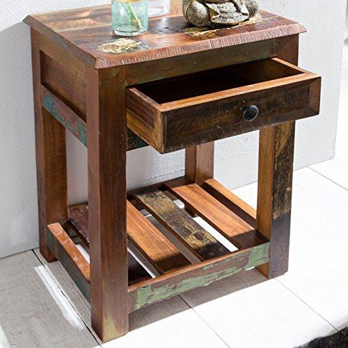 FineBuy Beistelltisch KALKUTTA 45 x 37 x 60 cm | Massivholz Nachtkonsole mit Schublade & Ablage | Nachttisch Shabby-Chic | Nachtkästchen Schlafzimmer Massiv