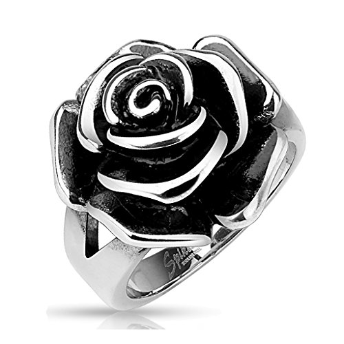 BlackAmazement Edelstahl Ring Rose Flower Blume Massiv Gothic silber Cast Band Damen (57 (18.1)) - Klar, Cast