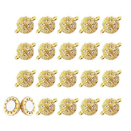 REKYO 20 PCS Strass Rond Boule En Laiton Fermoirs Magn¨¦tiques Cristal Pave Boule Magn¨¦tique Perles Fermoir pour Bracelet Collier Bijoux (OR 10 MM)