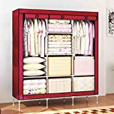 #8: House of Quirk 66inch Portable Wardrobe stainless steel Cloth Closet Organizer Storage with Cover and Clothes Rods Durable Sturdy shelves(Maroon)