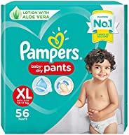 Pampers All round Protection Pants, Extra Large size baby diapers (XL), 56 Count, Anti Rash diapers, Lotion wi