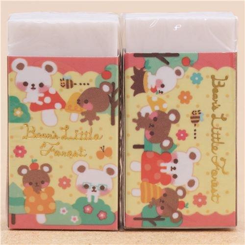 Süßer Bär Pilz Blume Punkt Radiergummi aus Japan