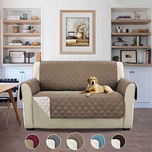 H.versailtex copridivano 2 posti idrorepellente divano protector mobili coperture su due lati per cani/gatti letto con divano slipcovers - 2 posti, grigio marrone
