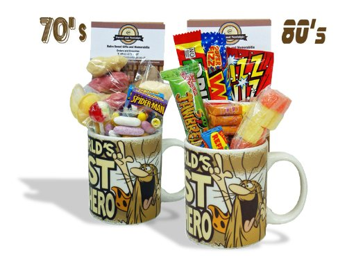 Captain Caveman Mug with a Wavey Selection of 70's Sweets