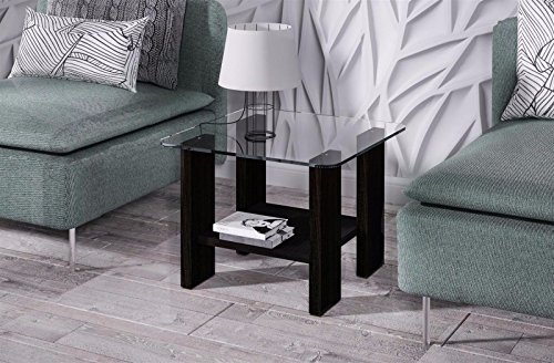 Endo Beistelltisch Lea Couchtisch 55x55cm kleiner Sofatisch Ablage Glastisch Glas // Wenge