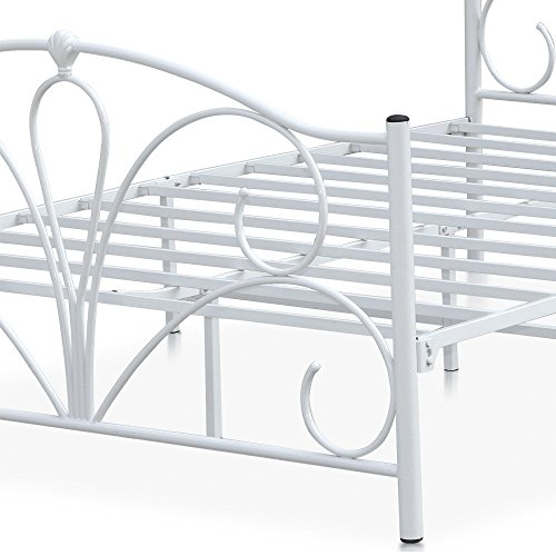 Popamazing� Queen Size Double Bed Frame 4ft6 Classic Gothic Victorian Ivory White Metal Bed Frame