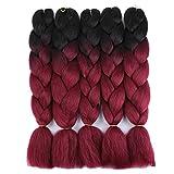 Golden Rule Ombre Kanekalon Geflochtene Haare 24'' 5Stk. 100g 2-farbige synthetische geflochtene Haare(schwarz und Burgund)