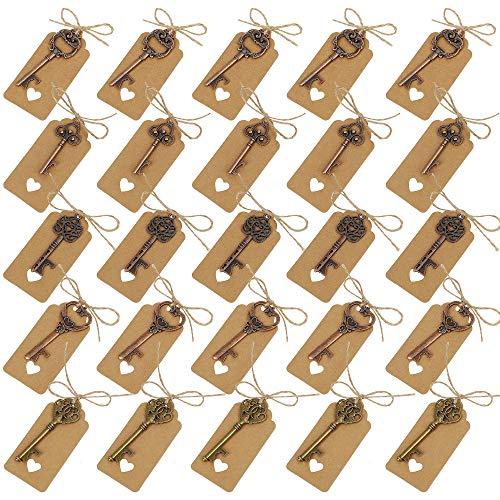 Schlüssel Flaschenöffner 5 Stile Sortierte Vintage Skeleton Keys mit Umbau-Karten Gastgeschenk für Hochzeit Babyfeier Partygäste Bankett Bar 25 Stück