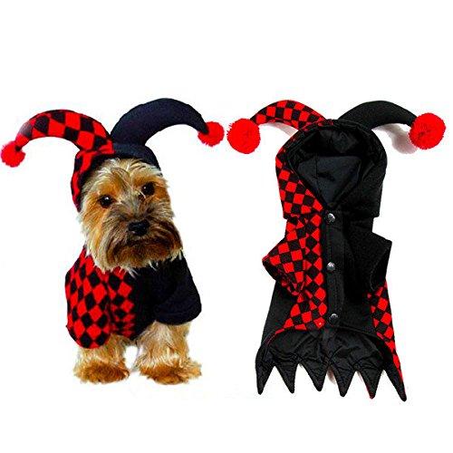 (bureze Pet Halloween Kleidung Clown Kostüm Fell Hoodie Hund Kleid)