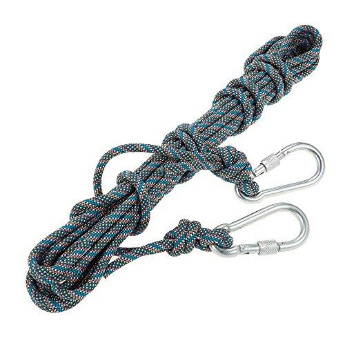 Docooler corda arrampicata esterno 8mm * 10m con moschettoni